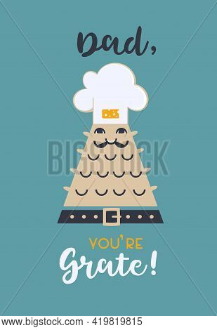 Cute Vector Greeting Card Fathers Day. Celebration Dad Holiday Typography Poster Background. Flat Co