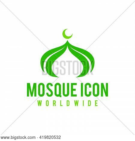 Mosque Vector Icon Illustration, Muslim Place For Pray. Mosque Icon
