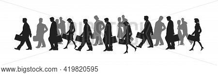 Business People Walking Crowd Shilouette Isolatet Vector. People Group Shadow. Vector Illustration.