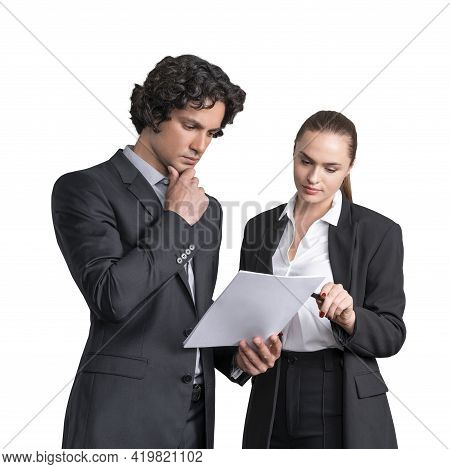 Handsome Businessman And Attractive Businesswoman In Formal Wear Working Together On The Project, Is
