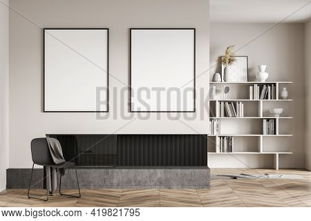 Beige Living Room Interior With Grey Chair With Blanket, Bookshelf On Background, Minimalist Art Roo