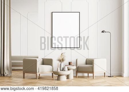 Modern Living Room Interior With Wooden Floor, Furniture, Table And Armchairs. Home Architecture Con