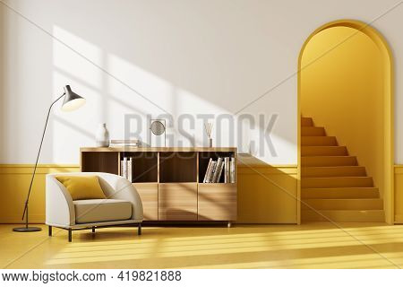 Apartment Interior With Beige Seat And Drawer With Books And Decoration, Yellow Floor. Mockup Blank