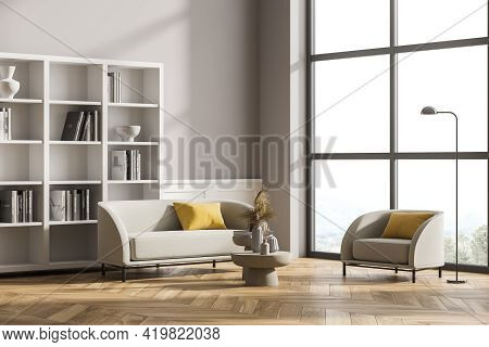 Modern Living Room Interior With Wooden Floor, Furniture, Table And Sofa And Armchair, Living Space,