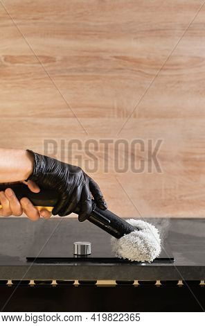 Steam Cleaning Of Rooms And Furniture, Gray Background. Selective Focus, Copy Space. The Concept Of