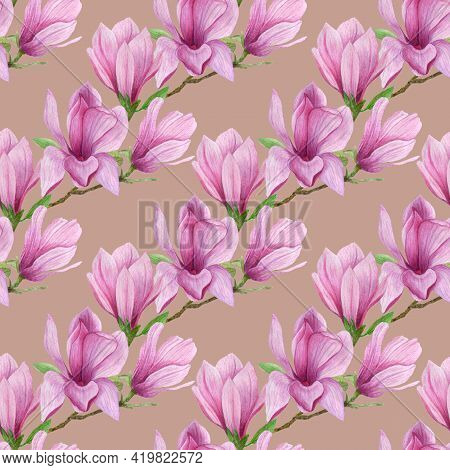 Blooming Magnolia Floral Seamless Pattern.watercolor Magnolia Flowers Hand Drawn