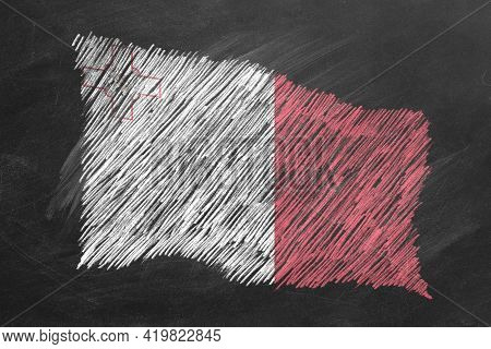 National Flag Of Malta Hand Drawn With Chalk On Blackboard. Flag Waving In Wind. One Of A Large Seri