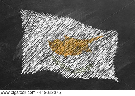 National Flag Of Cyprus Hand Drawn With Chalk On Blackboard. Flag Waving In Wind. One Of A Large Ser