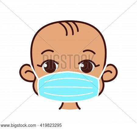 Child In A Surgical Mask. Medical Mask To Prevent Viruses. Little Boy Or Girl In A Protective Bandag