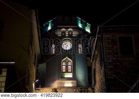 Clocktower In Herceg Novi At Night In Montenegro