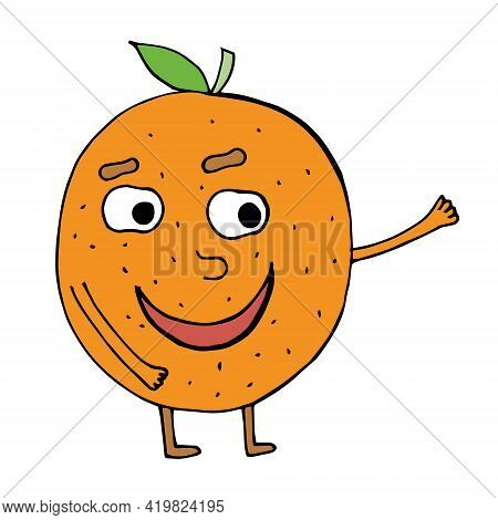Vector Illustration Of Cute Orange Fruit Mascot Or Character With Smile Expression. Cute Orange Frui