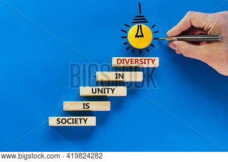 Diversity, Inclusion, Belonging Symbol. Wooden Blocks With Words Society Is Unity In Diversity On Be