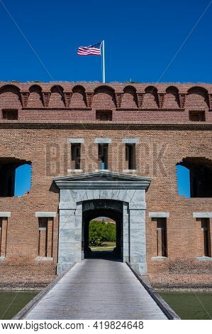 American Flag Flying Over Fort Jefferson In Dry Tortugas