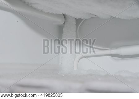 Detail Of An Iced Freezer - Freezer During Defrosting