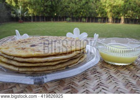 Indian Special Dish Bobbatlu Or Bhakshalu A Telugu Sweets For Ugadi Festival Special Food. Sweet Cha