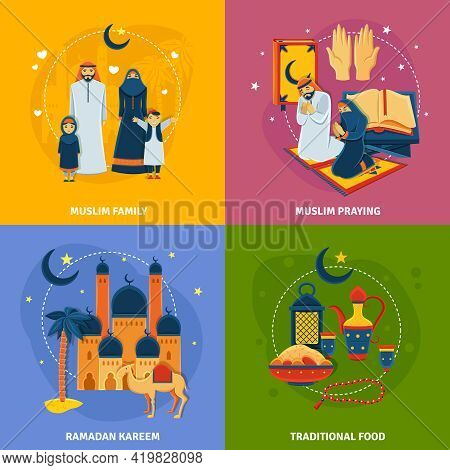 Islam Icons Set With Muslim Family Ramadan Kareem Traditional Food And Muslim Praying Symbols Flat I