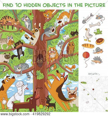 Cats Are Sitting On A Tree. Find 10 Hidden Objects In The Picture. Puzzle Hidden Items. Funny Cartoo