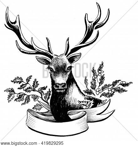Stag Deer Head And Oak Tree Branches With Blank Banner. Ink Black And White Drawing