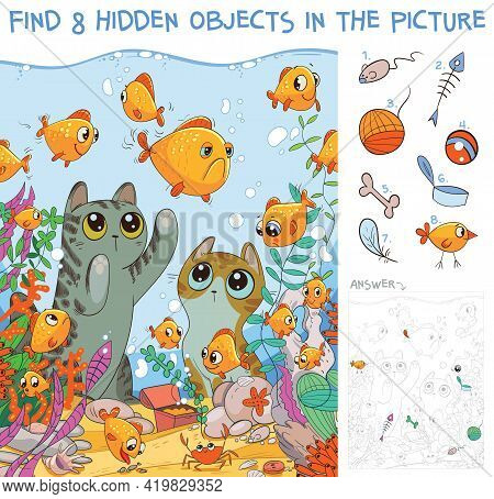 Find 8 Hidden Objects In The Picture. Cats Looking At Fish In An Aquarium. Puzzle Hidden Items. Funn