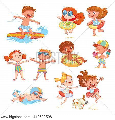 Set Of Summer Scenes With Children. Vacation At Sea. Child Swim With Inflatable Rubber Circle, Sunba