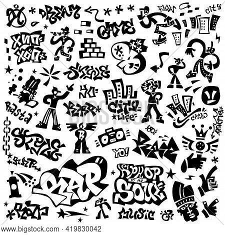 Rap Music , Hip Hop Culture Icon Set