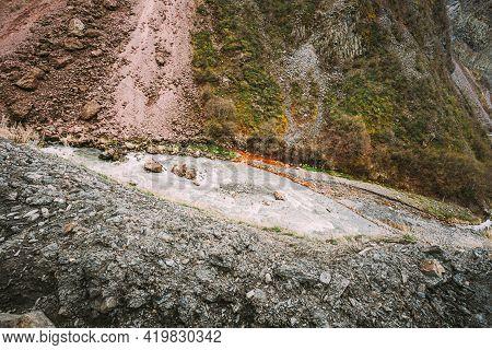 Georgia. Terek River Flows Through Georgia And Russia Into Caspian Sea. Spring Landscape With River
