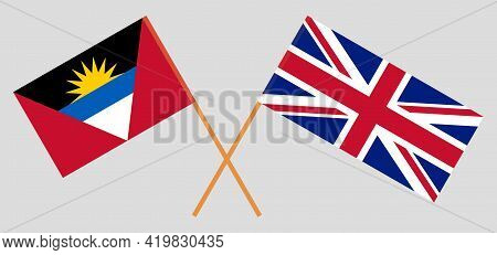 Crossed Flags Of The Uk And Antigua And Barbuda