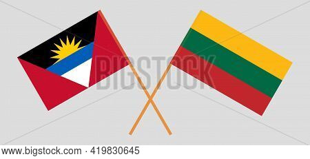 Crossed Flags Of Antigua And Barbuda And Lithuania