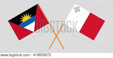 Crossed Flags Of Malta And Antigua And Barbuda