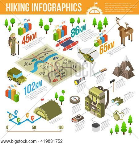 Hiking Infographics Set With Hiking Equipment Symbols And Charts Vector Illustration
