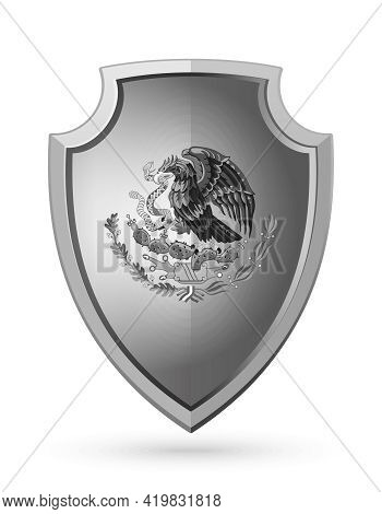Eagle Devouring A Snake. The National Emblem Of Mexico On A Metal Shield. Mexican Coat Of Arms. Vect