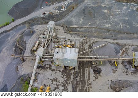 Open-pit Iron Ore Mining, A Big Mining Truck At Work, Working In A Quarry In Open Cast Mine The Over
