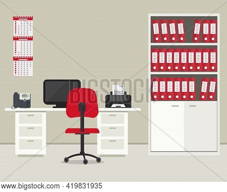 Office Room In A Beige And Red Color. Workplace For Office Worker With Furniture. There Is A Desk, A