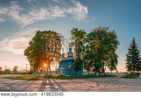 Staraya Belitsa, Uritskiy Selsovet , Gomel Region, Belarus. Old Wooden Orthodox Church Of St Nichola