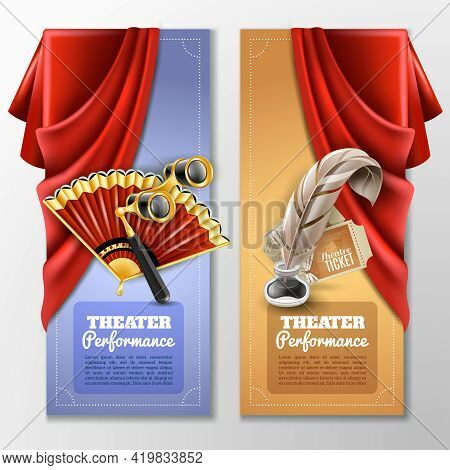 Theatre And Stage Vertical Banners Set With Fan And Opera Glass Realistic Isolated Vector Illustrati