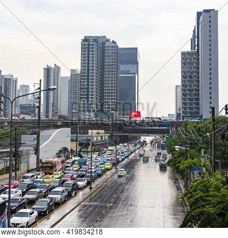 Rush Hour Big Heavy Traffic Jam In Busy Bangkok Thailand.