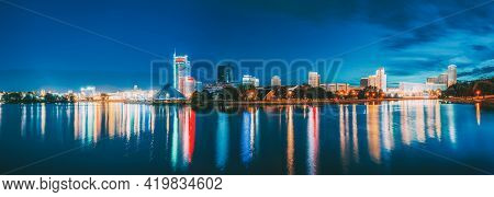 Minsk, Belarus. Panorama With Residential House Near Pobediteley Avenue And Svisloch River. Summer E