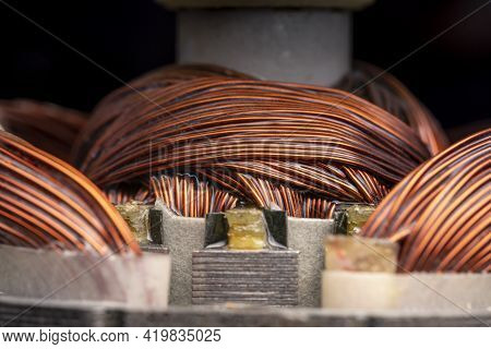 Rotor And Stator Of An Electric Motor Close Up. Copper Motor Windings.
