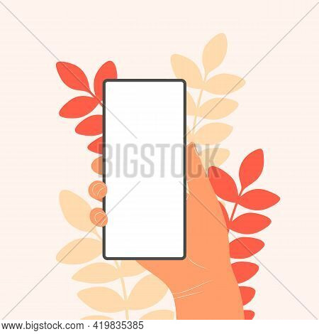 Human Hands Hold Horizontally Mobile Phone With Blank Screen. Hand Holding Phones With Empty Screens