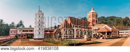 Kavlem, Phonda, Goa, India. Shree Shantadurga Mandir, Kavlem Temple. Famous Landmark And Popular Des