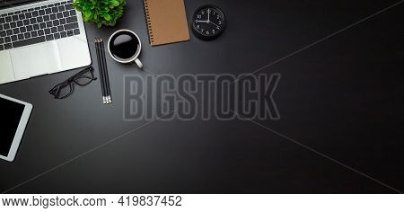 Workspace - Flat Top View Illustration Of A Workspace With A Coffee Cup And Notebook On The Black De