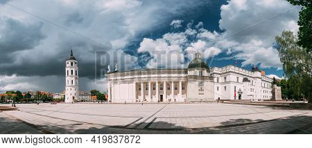 Vilnius, Lithuania - July 5, 2016: Panorama Of Bell Tower Chapel And Cathedral Basilica Of St. Stani