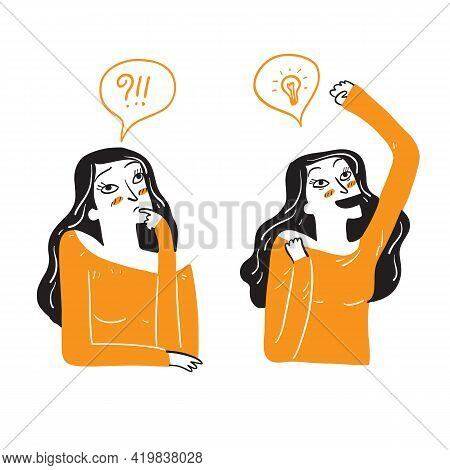 A Beautiful Woman Is Acting In Doubt Or Emotion. Having A Good Idea, Thinking About It. Vector Illus