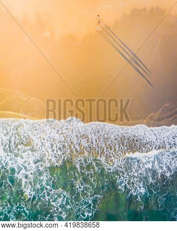 Beautiful coastline with clear sea water drone photograph