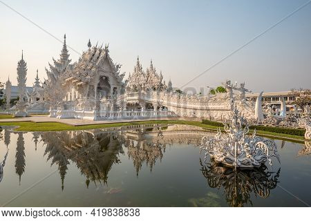 Chaing Rai, Thailand - March 5 ,2021 : White Temple (wat Rong Khun) Is One Of The Most Famous Attrac