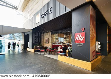 KUALA LUMPUR, MALAYSIA - CIRCA JANUARY, 2020: entrance to Illy Caffe in Pavilion Kuala Lumpur shopping centre.
