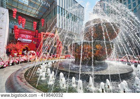 KUALA LUMPUR, MALAYSIA - CIRCA JANUARY, 2020: Pavilion Crystal Fountain at Pavilion Kuala Lumpur shopping centre.