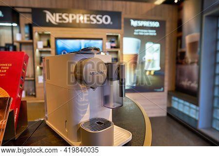 KUALA LUMPUR, MALAYSIA - CIRCA JANUARY, 2020: close up shot of Nespresso capsule coffee machines on display at Nespresso shop in Pavilion Kuala Lumpur shopping centre.