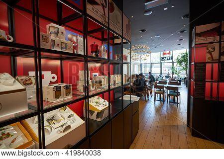 KUALA LUMPUR, MALAYSIA - CIRCA JANUARY, 2020: interior shot of Illy Caffe in Pavilion Kuala Lumpur shopping centre.