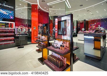 KUALA LUMPUR, MALAYSIA - CIRCA JANUARY, 2020: interior shot of MAC store in Pavilion Kuala Lumpur shopping centre.